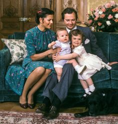 Queen Silvia, Crown Princess Victoria, King Carl XVI Gustaf and the birthday boy Prince Carl Philip turned a year old on 13 May 1980