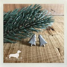 CLEARANCE Christmas Tree. Post Earrings  Silver Small