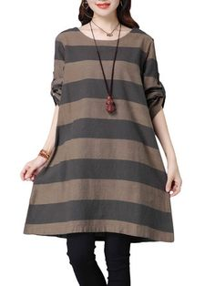 Casual Women Stripe Long Sleeve Loose Cotton Dress