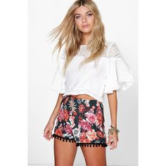 Boohoo Eve Floral Print Pom Pom Trim Flippy Short ($16) ❤ liked on Polyvore featuring shorts, multi, mini short shorts, mini shorts, sequin hot shorts, floral shorts and floral pom pom shorts
