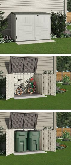 This small storage shed is just the right size to store your bicycles safely or to hide garbage cans. It won't take up a lot of room from your backyard or side yard or spoil the look of your home. (back yard storage) Shed Storage, Small Storage, Garage Storage, Diy Storage, Creative Storage, Bike Storage Small Space, Bicycle Storage Shed, Backyard Storage Sheds, Patio Storage