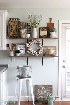DIY Farmhouse Style Decor Ideas - Farmhouse Shelves Decor - Rustic Ideas for Furniture, Paint Colors, Farm House Decoration for Living Room, Kitchen and Bedroom http://diyjoy.com/diy-farmhouse-decor-ideas