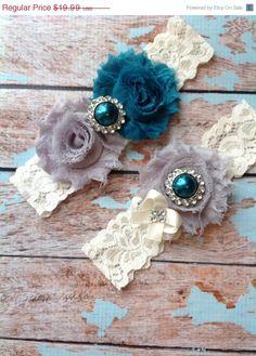 NEW SALE TEAL & Grey wedding garter set / bridal  garter/  lace garter / toss garter included /  wedding garter / vintage inspired lace gar