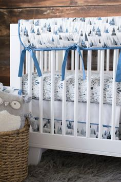 Campsite 3 Piece Bumperless Custom Crib Bedding Set Baby Shower Gift