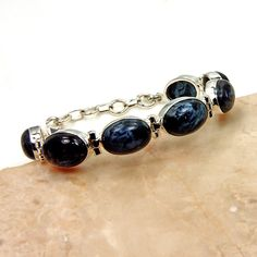 AE929 The Silver Plaza Gift Midnight Sky  Pietersite Bracelet Adjustable Bracelet Sterling Silver Pietersite Blue Bracelet
