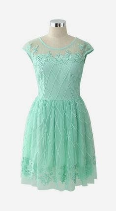 Baroque Fantasy Mint Embossment Mesh Dress