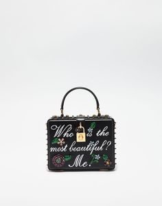 LEATHER DOLCE BOX BAG WITH WRITING AND APPLIQUÉS Dolce Gabbana Online c7a7db13386f2