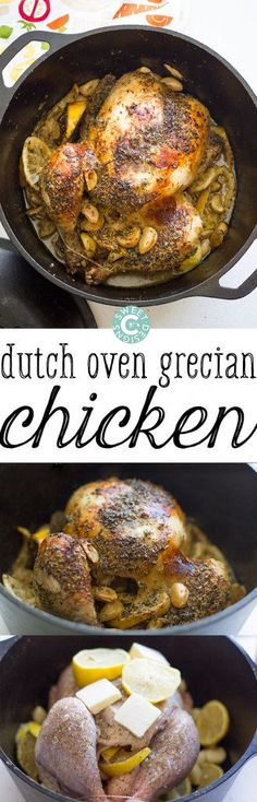 dutch oven grecian chicken- super easy and the most delicious chicken ever! dutch oven grecian chicken- super easy and the most delicious chicken ever! Dutch Oven Cooking, Dutch Oven Recipes, Cast Iron Cooking, Cooking Recipes, Easy Cooking, Crockpot Recipes, Le Creuset, Whole Roasted Chicken, Lemon Garlic Chicken
