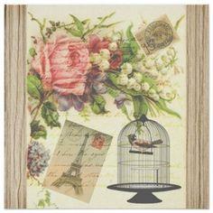 Vintage Bird Floral French Paris Eiffel Tower Posters