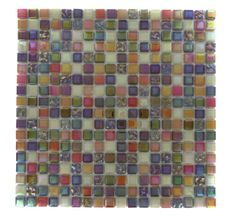 Whimsical Fairy Dust Glass Tile $15.95- Backsplash Tile- Pink and Purple and Orage!! Super cute, but the husband wouldn't appreciate this in the kitchen