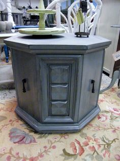 blue octagon table $89 Refurbished Furniture, Furniture Makeover, Vintage Furniture, Dresser Makeovers, Octagon Table, Sofa End Tables, Distressed Painting, Chalk Paint Furniture, Repurposed