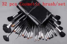 Big Discount ! 32 pcs Makeup Brush Kit Makeup Brushes + Black Leather Case, Free Shipping #pc32-02