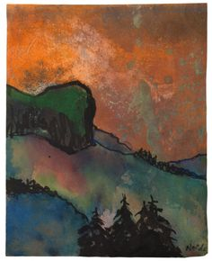""" Emil Nolde (German, 1867-1956), Berglandschaft und schwarze Tannen [Mountain landscape and black pines], c. 1935. Watercolour and brush and India ink on Japan paper, 16.9 x 13.4 cm. """