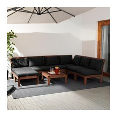 ÄPPLARÖ / HÅLLÖ 6-seat sectional + stool, outdoor, brown stained, black brown stained/black
