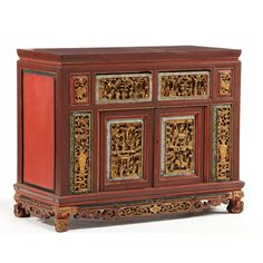 Chinese Carved Gilt and Lacquered Low Cabinet Sold $900.
