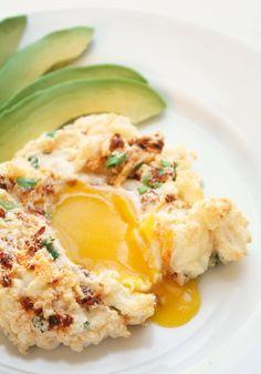 Eggs in a Cloud (w/ Chorizo, Cilantro & Manchego) - these look so good!