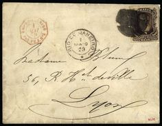 BRAZIL-FRANCE. 1879 Cover franked with rouletted 260 reis Dom Pedro issue (Sc 74), prepaying the UPU letter rate to France. Stamp tied by indistinct cork cancel, with RIO DE JANEIRO cds alongside. Front shows red octagonal RIO-DE-JANEIRO/PAQ.FR.J.No5 maritime datestamp (Salles 1080), and reverse bears LYON arrival cds. Rare franking on a very fine transatlantic cover. Photo Est. 200-250 CHF  Lot condition   Dealer Harmers SA  Auction Starting Price: 200.00 CHF (app. 164 EUR)