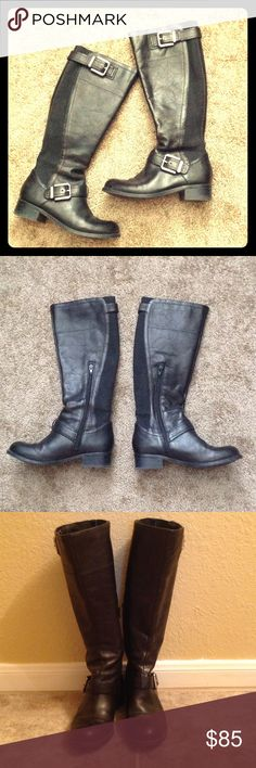 Arturo Chiang Leather Boots Excellent condition- worn once. Black leather Arturo Chiang boots with stretch material on interior and exterior sides. Straps and silver buckles at ankle and top. 1 1/2 inch heel. Women's size 6. (Please note- some spots of minor leather discoloration on outside of left boot). Arturo Chiang Shoes