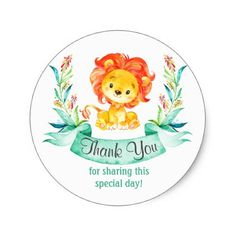 Watercolor Lion Boy Thank You Sticker - baby shower ideas party babies newborn gifts