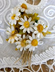 Delicate White and Yellow Shell Daisy Pin by etherealtreasures, $16.00