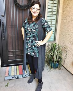 The LuLaRoe Julia as a tunic with leggings and a Joy. See the link in my bio for more styling pics.