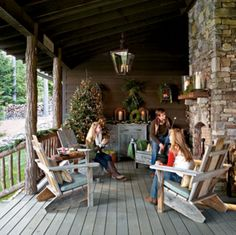 Southern Living rustic porch for Christmas via Talk of the House