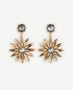 Ann Taylor Crystal Sequin Floral Drop Earrings