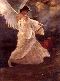 ''Glory of Psara '' c. 1898 by Nikolaos Gyzis Social Art, Pre Raphaelite, Greek Art, Chiaroscuro, Art Graphique, Illustrations, Angels Among Us, Artist Art, Les Oeuvres