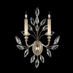 Encased Gems Two Light Wall Sconce In Silver Leaf Finish With Multi Colored Crystal Gems F