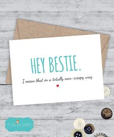 Friend Card I love you card Awkward Girlfriend by FlairandPaper