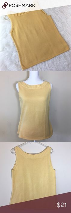 "Tommy Bahama Sleeveless Knit Tank Top Size Medium Simply Beautiful!. Build up your wardrobe with this adorable Knit Tank Top. Made of 100% cotton in a beautiful yellow color. Super high quality!. Perfect for summer, to wear up or down with a light sweater. Pre loved in great condition!. It has a ribbed neckline and arm detail.   Bust measures 24 1/4"" Total length is 20"". Tommy Bahama Tops Tank Tops"