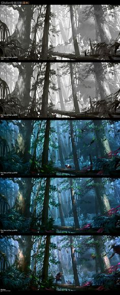 Forest painting process