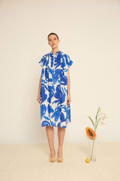 Shop CORA dress in white/blue girls & fish print from Heinui in Dresses, available on Tictail from Tent Dress, Dress Up, Quoi Porter, Style Me, Cool Style, French Fashion Designers, Fishing Girls, Fish Print, Madame