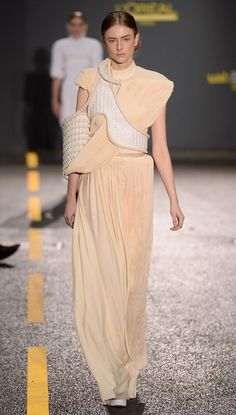 Sang Yoon exaggerates garments with plastic sleeves for Central Saint Martins collection