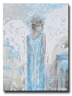 """ORIGINAL Abstract Angel Painting Guardian Angel Wings Textured Blue White Grey Home Decor Wall Art X Large 30x40"""""""