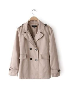 5dab00e0b15b7 SHEIN offers Khaki Lapel Long Sleeve Epaulet Pockets Outerwear   more to fit  your fashionable needs.