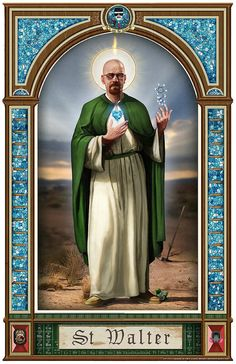 Saint Walter, the patron saint of methamphetamine. Unfortunately Breaking Bad is over, but fear not you can hang this on your wall and pray to Saint Walter every day. Also each print will not include the URL text in the bottom corner. Bad Wallpaper, Unique Wallpaper, Mobile Wallpaper, Serie Breaking Bad, Breaking Bad Poster, Breking Bad, Bad Fan Art, Graffiti, Nerd
