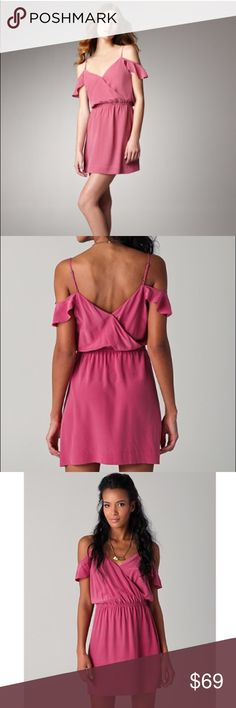 "Joie sari pink silk cold shoulder dress small This silk dress features hidden-snap closures at the crossover V neck and back. Gathered elastic waist. Adjustable spaghetti straps and draped overlays at shoulders.  * 35"" long, measured from shoulder. * Fabrication: Washed silk. * 100% silk. * Dry clean. * Imported. Joie Dresses"
