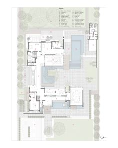 Image 23 of 24 from gallery of Three Trees House / DADA & Partners. First Floor Plan Modern Tree House, Modern House Plans, House Floor Plans, Large Floor Plans, Craftsman Floor Plans, Courtyard House Plans, Villa Plan, Ground Floor Plan, Room Planning