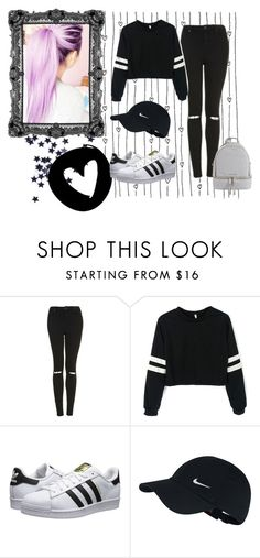 """""""Black and White"""" by killerbarbiexoxo-123 on Polyvore featuring Topshop, adidas Originals, By Emily, NIKE and MICHAEL Michael Kors"""