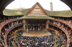 """The inside of the Globe Theatre. One of the first plays performed there was """"Julius Ceasar."""""""