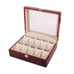 Captivating 10 Slot Wood Watch Display Box Q6Q7