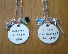 "Wicked Musical Inspired Friendship Necklaces. Elphaba & Galinda. Set of 2. Silver colored, Swarovski crystals. ""Because I knew you"" ... ""I have been changed for good"". Wicked Musical Necklace"