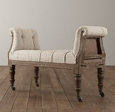 Deconstructed 19th C English Wing Chair Belgian Linen Sand Chairs Restoration Hardware