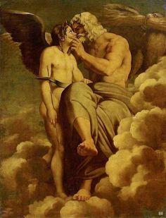 "Jupiter and Cupid. late 17th.century early 18th. after Raphael Sanzio. Italian 1483-1520. oil/canvas. - ""Δίας και Έρωτας"""