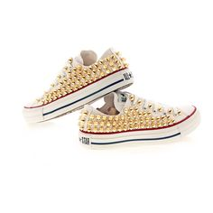 Studded Converse Gold Cone with converse white low top by CUSTOMDUO ($135) ❤ liked on Polyvore featuring shoes, sneakers, converse, all star, low profile sneakers, gold sneakers, gold shoes, star sneakers and low top shoes