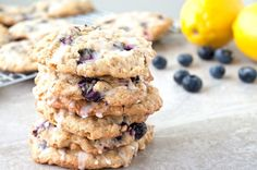 Blueberry Oatmeal Cookies with lemon glaze (might try dry blueberries or even cranberries instead of fresh berries)
