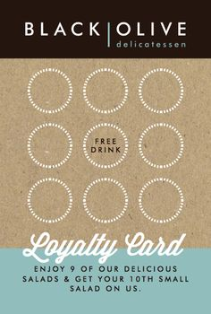 Spring strengthened Black Olive's brand loyalty with this pretty loyalty card. (We've already filled up a few ourselves! Loyalty Card Design, Loyalty Card Template, Card Templates, Loyalty Cards, Olives, Coffee Shop Logo, Menu Book, Vip Card, Restaurants