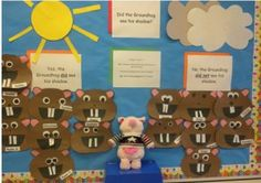 First Grade Frenzy - with Leslie Sklavounos February Bulletin Boards, Classroom Bulletin Boards, Classroom Ideas, Groundhog Day Activities, Presidents Day, Early Education, Kindergarten Classroom, Educational Activities, First Grade