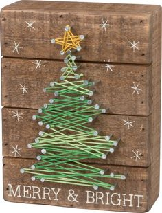 Primitives By Kathy, String Art - Merry #christmastreedecoration